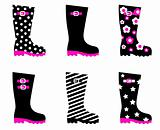 Retro patterned wellington rain boots isolated on white ( black,