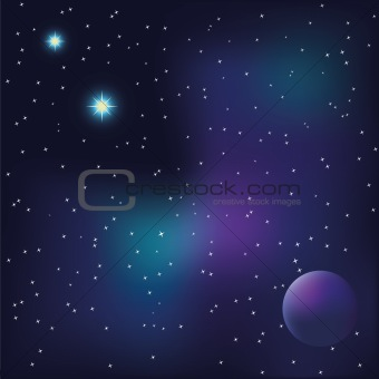 Planet and bright stars in space