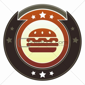 Hamburger or food icon on imperial button