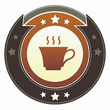 Coffee or tea icon on imperial button