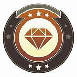 Diamond or luxury icon on imperial button
