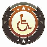 Wheelchair or accessibility icon on imperial button
