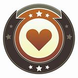 Heart or love icon on imperial button