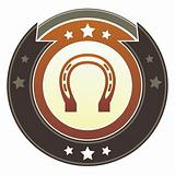 Horseshoe or luck icon on imperial button