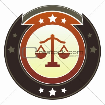 Scales of justice on imperial button
