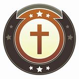 Christian cross icon on imperial button