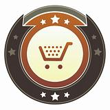 Shopping cart icon on imperial button