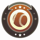 Baseball sports icon on imperial button