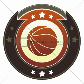 Basketball sports icon on imperial button