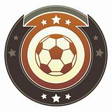 Soccer or futbol sports icon on imperial button