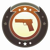 Handgun icon on imperial button