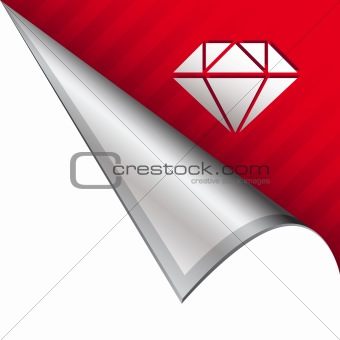 Diamond icon on peeling corner tab
