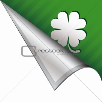 Four leaf clover icon on peeling corner tab