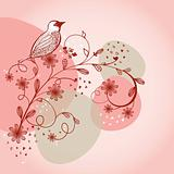 Bird sitting on the flower branch, hand drawn vector illustration