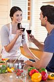 Portrait of a couple having a glass of wine while cooking