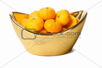 Mandarin oranges in gold ingot container