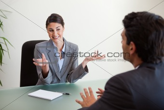 Smiling manager interviewing an employee