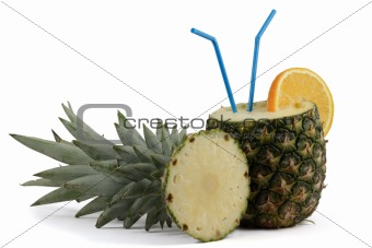 Pina Colada in Pineapple isolated