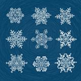 Macro-structure of real snowflakes, transformed and drawn as orn