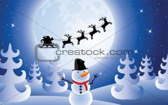 santa claus, trees and snowman