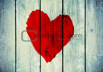 love symbol on old wooden wall
