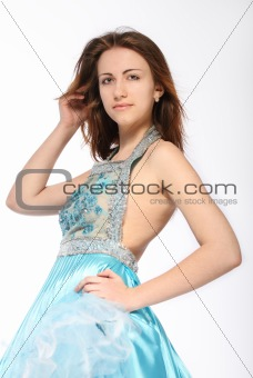 Portrait of romantic girl in the beautiful dress