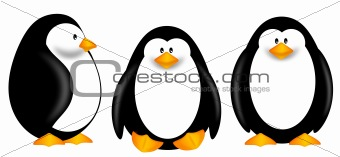 Cute Penguins Clipart Isolated on White Background