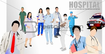 Group of Medical doctors and nurse in hospital. Vector illustrat