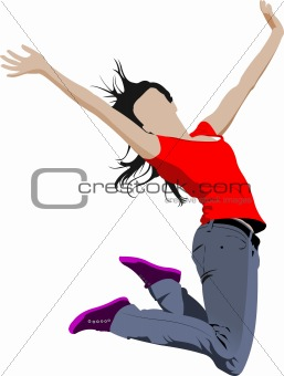 Jumping girl. Colored vector illustration