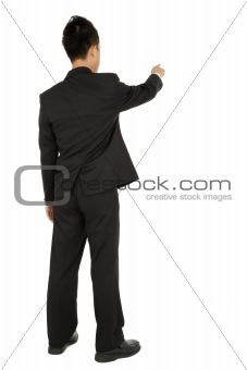 Business man pointing and touch something isolated on white background