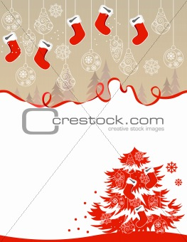 Greeting card with hanging santa socks