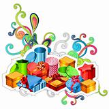 Gift boxes with modern festive elements