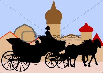 Carriages with horses