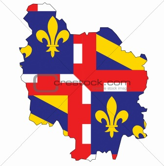 map with flag of bourgogne