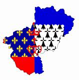 map with flag of Pays de la Loire