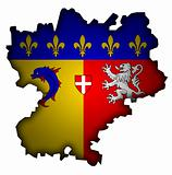 map with flag of rhone alpes