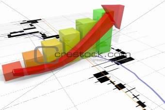 growth bar chart with arrow and financial chart background