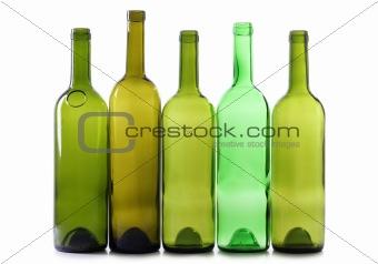 Green glasses bottles