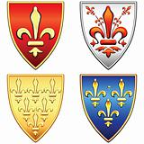 vector set of French shields with the arms of the flowers fleur