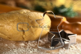Angel-Shaped Cookie Cutter with Dough