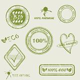 Green grunge rubber stamp set