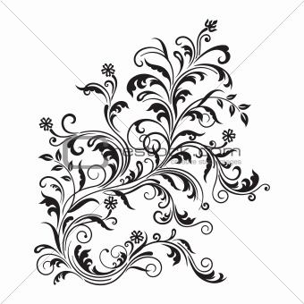 Black floral ornament isolated