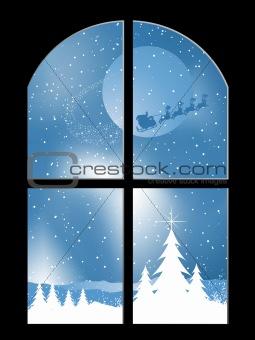 Snowy night through a window
