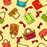 vector collection of woman&#39;s accessories. Seamless wallpaper.