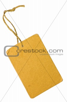 Blank Yellow Grunge Cardboard Sale Tag Label Isolated Closeup Macro