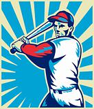 Baseball player with bat batting