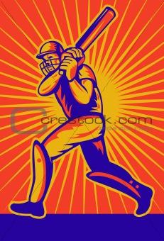 cricket sports batsman batting retro