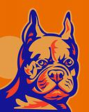 French Bulldog head portrait retro