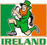 Irish leprechaun rugby player Ireland flag