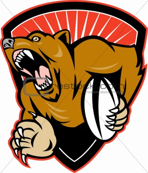 grizzly bear rugby player fending with ball shield